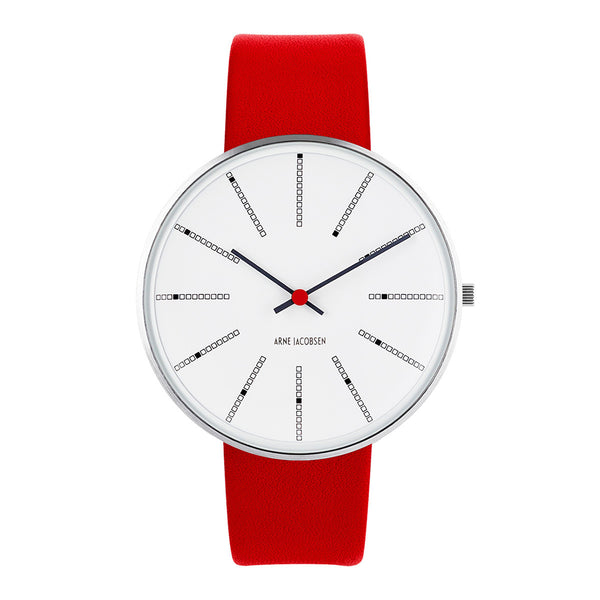 Bankers - White Dial, Red Strap, 40 mm