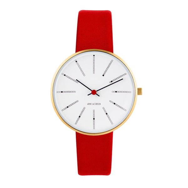 Bankers - IPG, White Dial, Red Strap, 34 mm