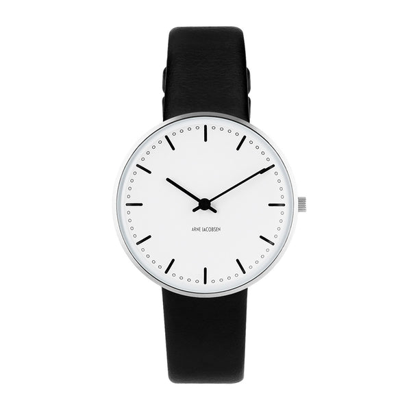 City Hall - White Dial, Black Strap, 34 mm