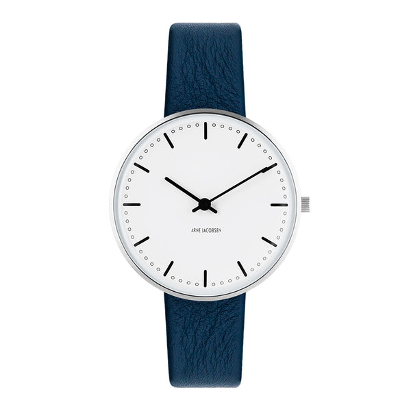 City Hall - White Dial, Navy Blue Strap, 34 mm - Secoo