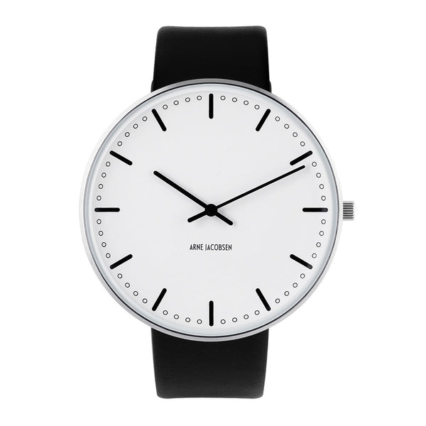 City Hall - White Dial, Black Strap, 46 mm