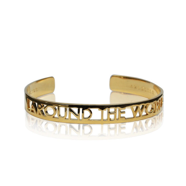 24K Gold Plated Brass World Cuff