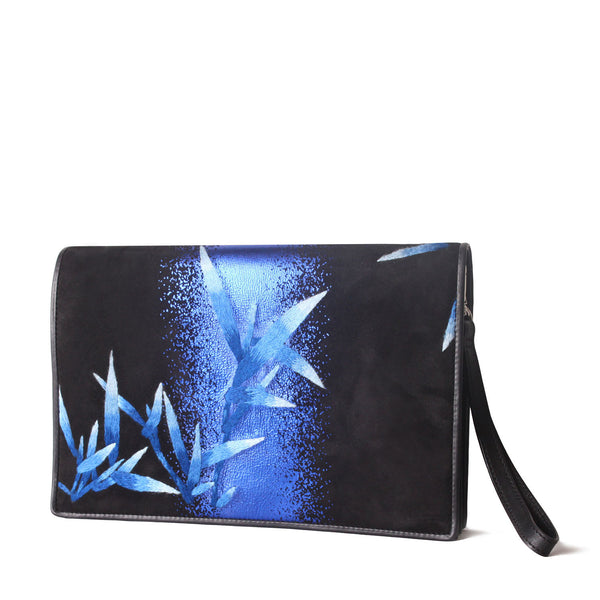 """HUANG"" Bamboo Embroidery Clutch In Blue and Black"