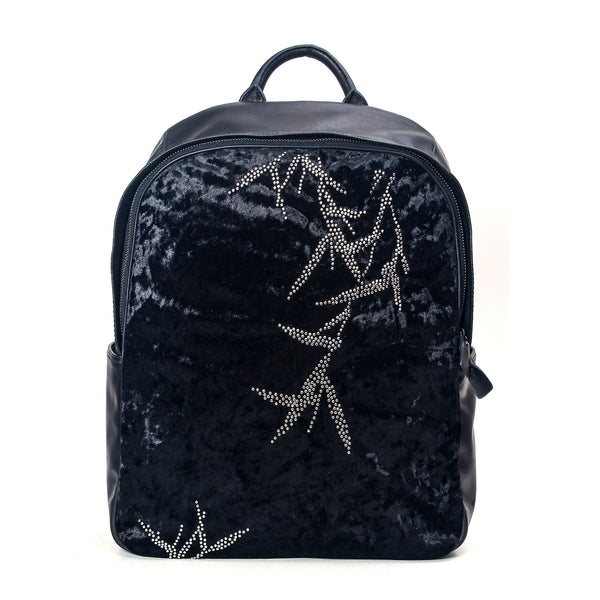 """HUANG"" Rivet Velvet Backpack In Black"