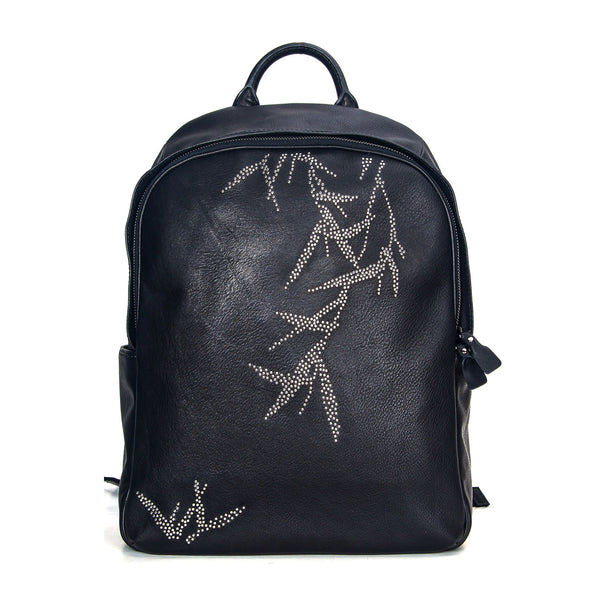 """HUANG"" Rivet Leather Backpack In Black"