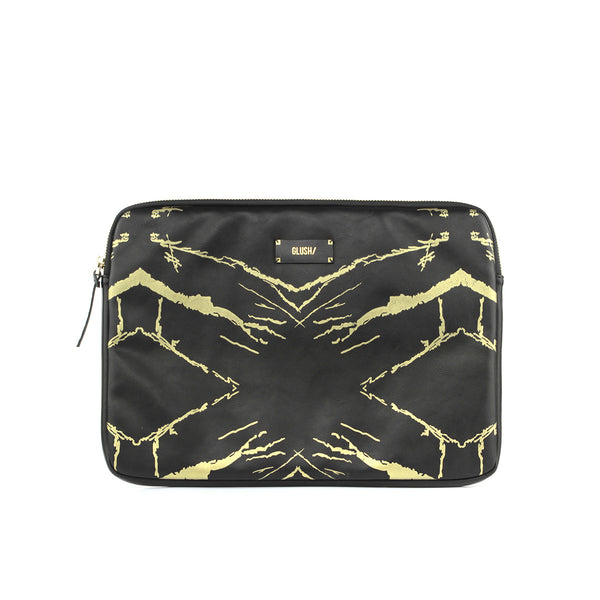 Hard Swirls Laptop Case - Black Gold