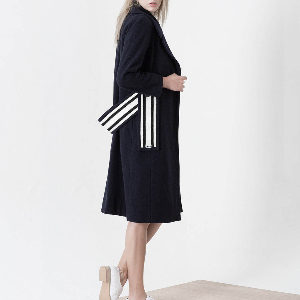 Navy Wool Coat With Striped Belt