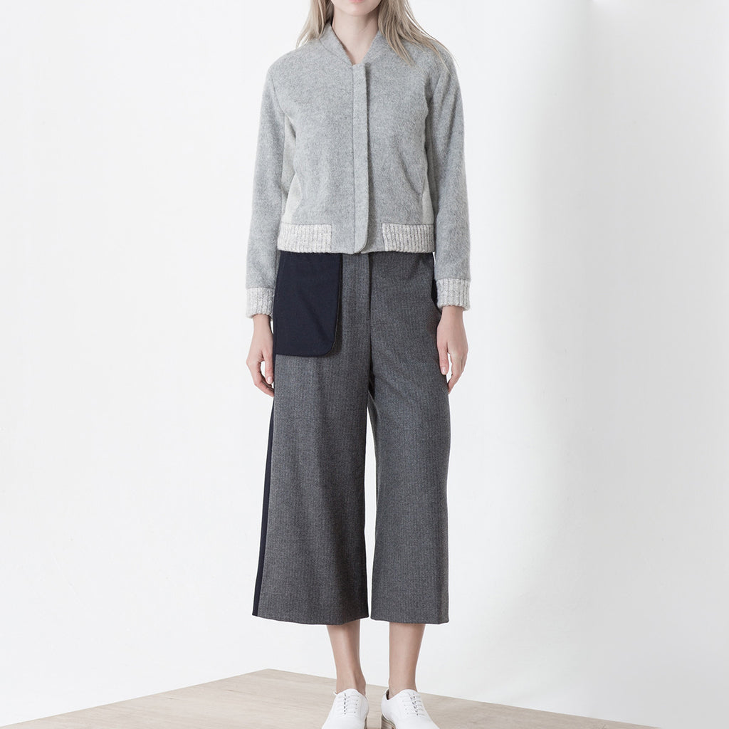 Blue Grey Blocking Wool Pants