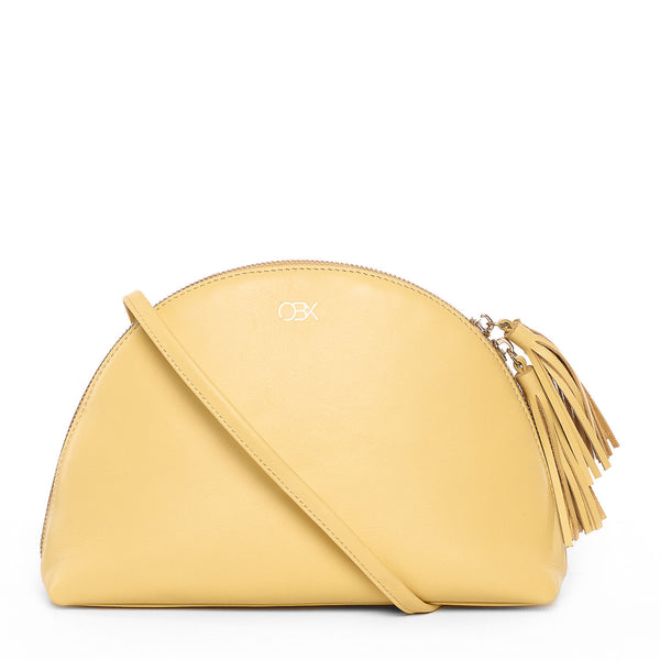 Leather Plump Shoulder Bag, Light Yellow
