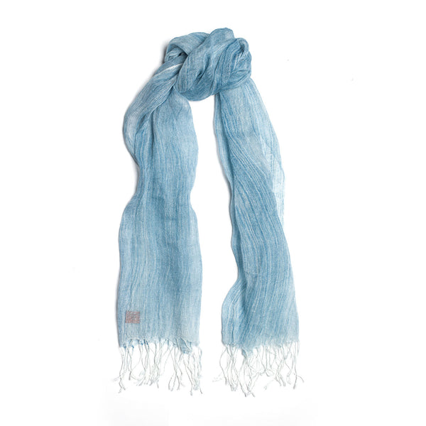 Brush-touch Fringed Linen Scarf Sky Blue
