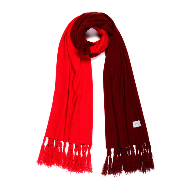 Chinese Red/Jester Red Cashmere Scarf with fringe