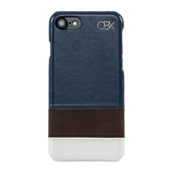 Calm Striped Italian Leather Case iPhone 7/ 7 plus  - Navy/Red
