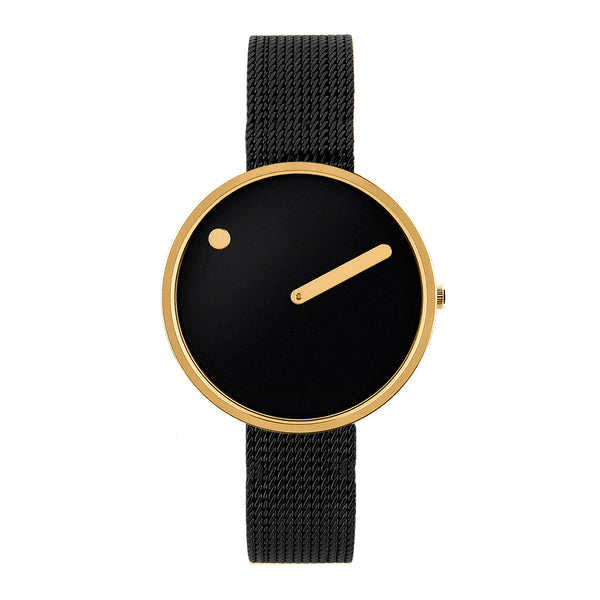Picto - Black Dial, Polished Gold Bezel, Matt Black Mesh Band, 30mm