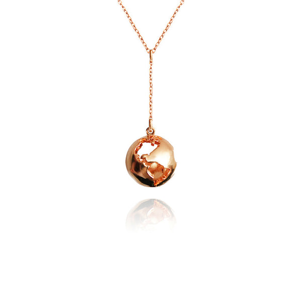 24K Rose Gold Plated World Globe Pendant