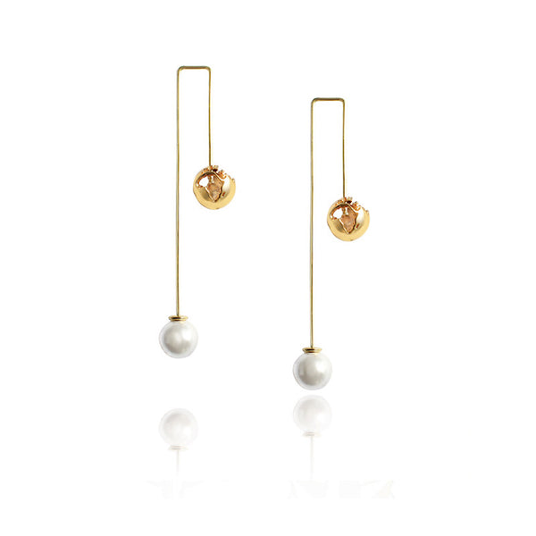 24K Gold Plated Brass With White Pearls World Earrings