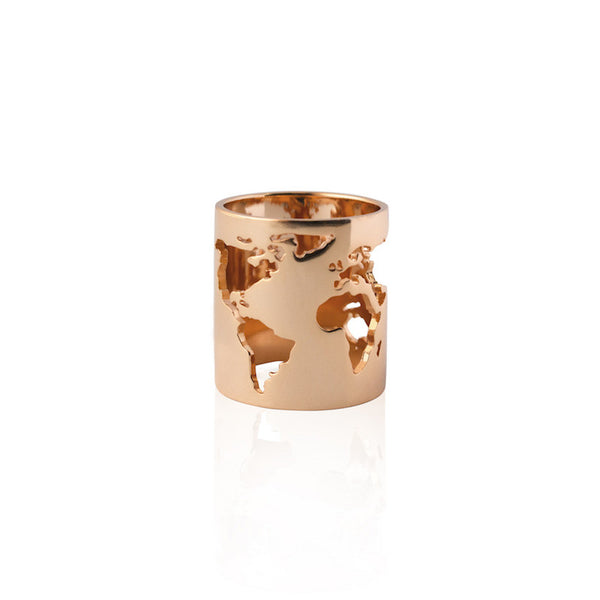 24K Rose Gold Plated Brass World Long Ring
