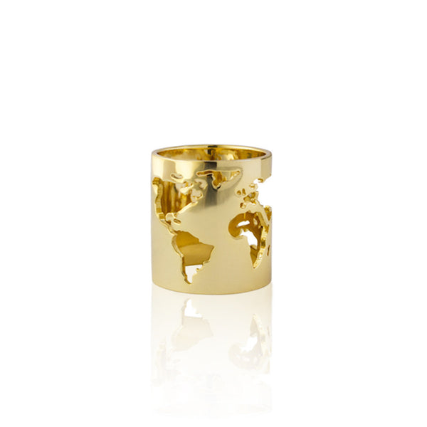24K Gold Plated Brass World Long Ring