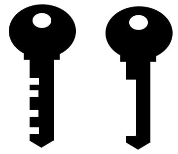 Types of locks - Warded Key (left) and bypass skeleton key (right)