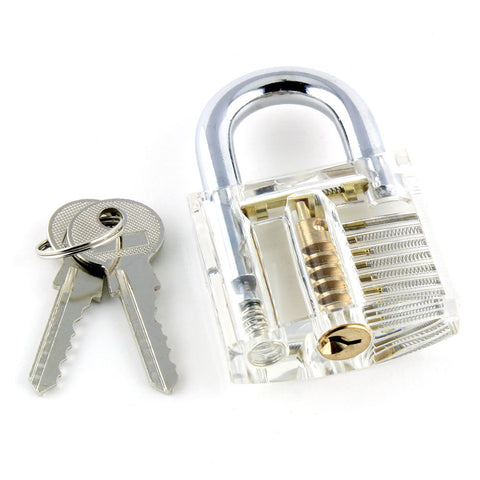 Clear Practice Padlock with Visible Mechanism - Ideal for