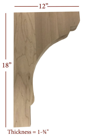 Bridge to Hutch Solid Wood Scalloped Bar Bracket