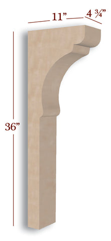Scalloped Trim to Height Low Profile Island Corbel or Hood Corbel