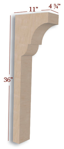 Craftsman Trim to Height Low Profile Island Corbel or Hood Corbel