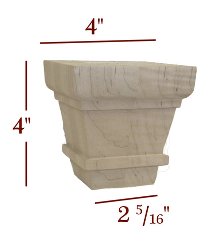 "Charlotte 4"" Tapered Square Transitional Mission Bun Foot"