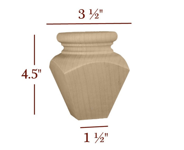 "Emma Square Plain Tapered 4.5"" Tall Cabinet Bun Foot - Small"