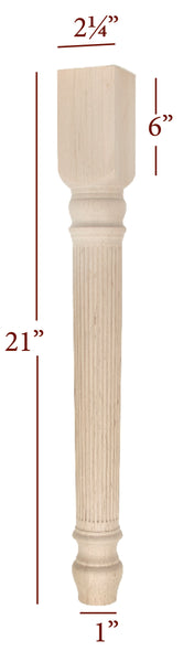 Reeded Lincoln End Table Leg