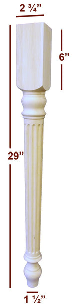 Slender Fluted Lincoln Dining Furniture Leg