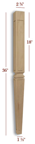 Slender Tapered Outline Window Mission Vanity Leg