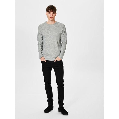 O NECK LONG SLEEVE TEE - GREY