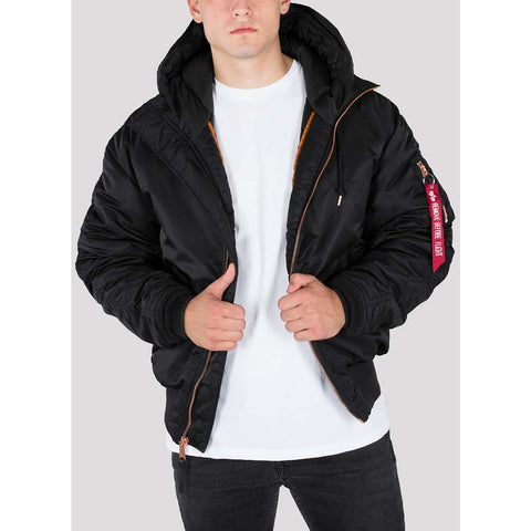 N2-B PM COLD WEATHER HOODED BOMBER - BLACK/COPPER