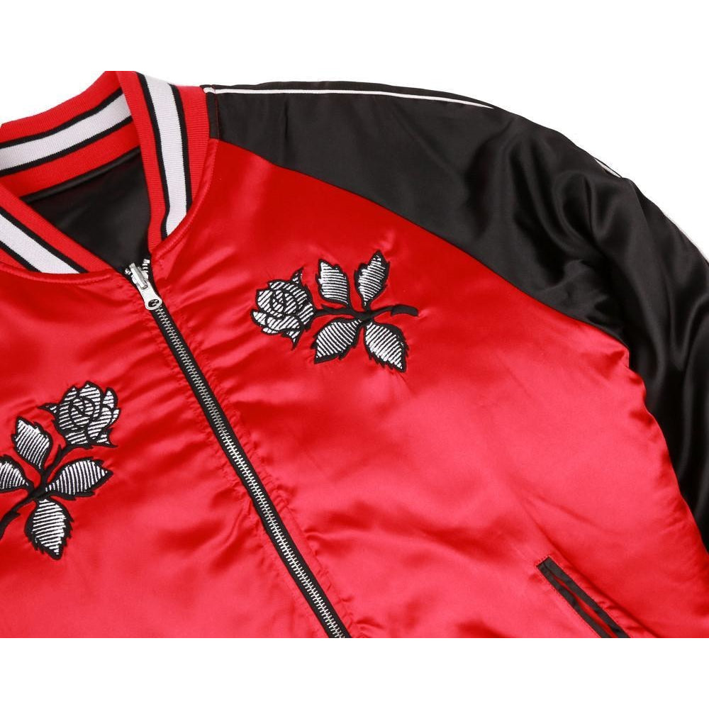 REVERSIBLE EMBROIDERED JACKET - BLACK/RED