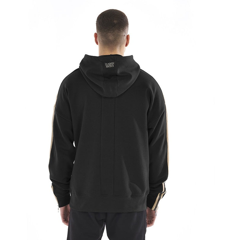 OVERSIZED PANEL HOODIE - BLACK