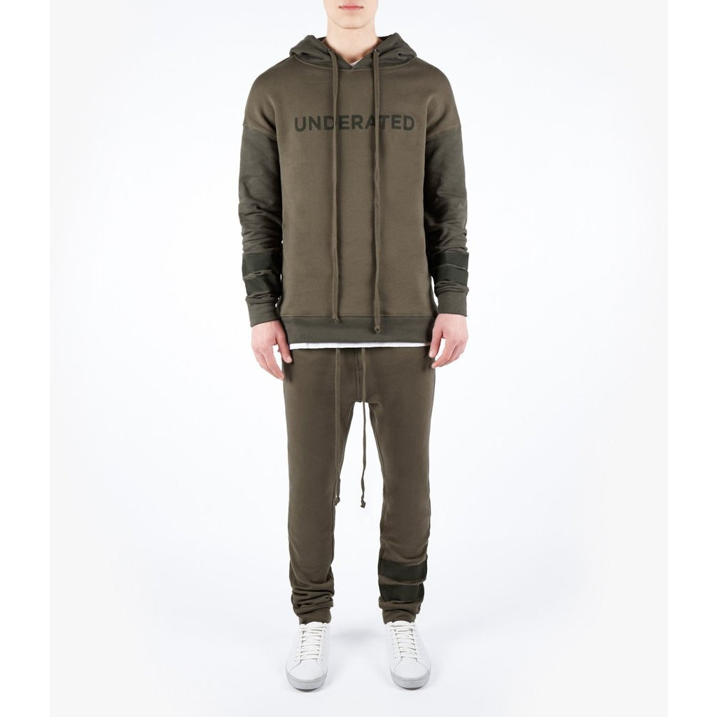 OVERSIZED TWO TONE ESSENTIAL HOODY - KHAKI