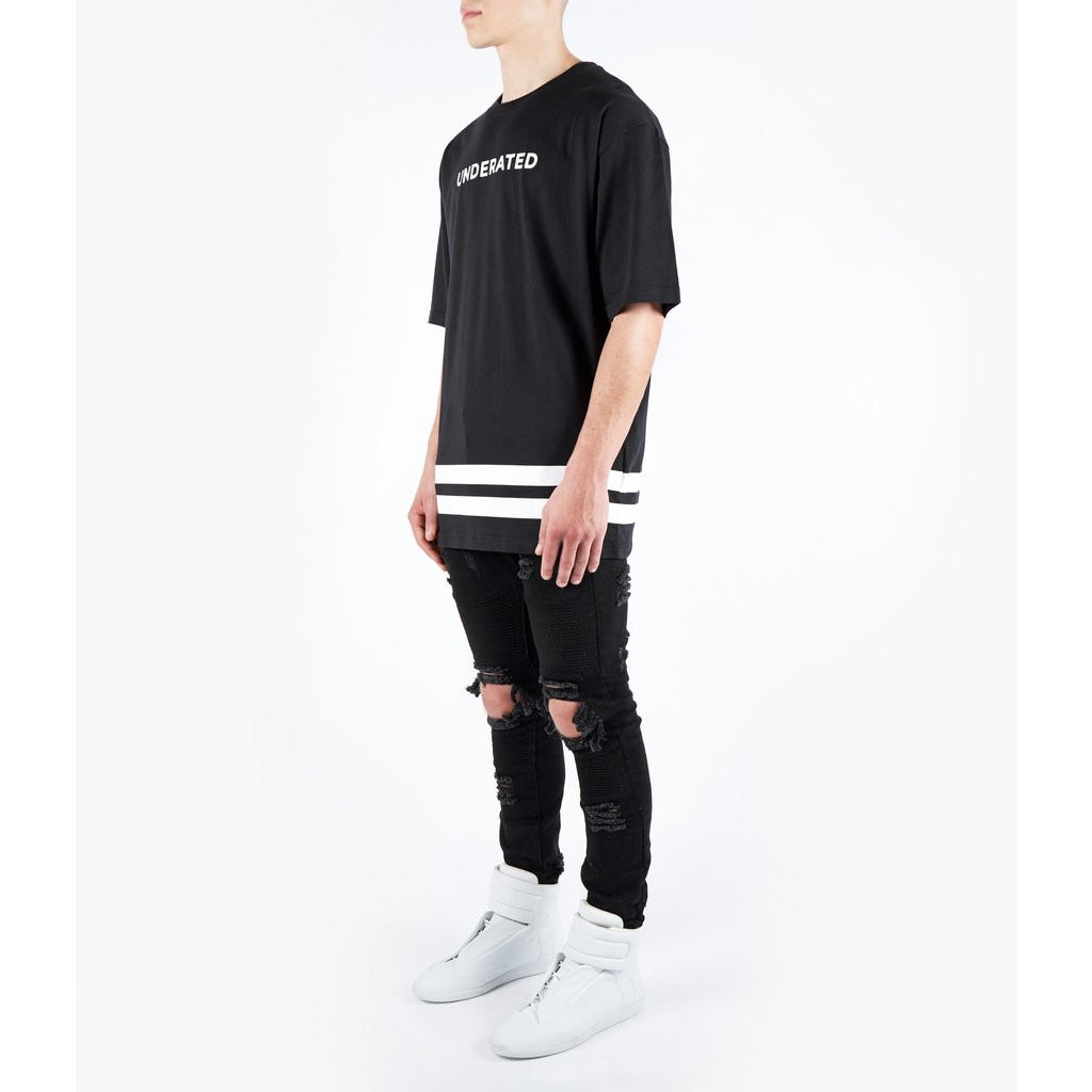 ESSENTIAL STRIPE PRINTED TEE - BLACK