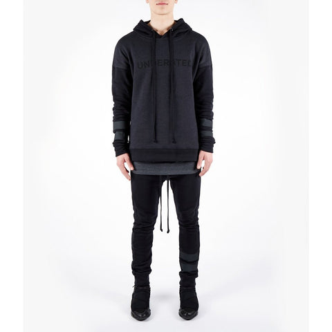 OVERSIZED TWO TONE ESSENTIAL HOODY - BLACK