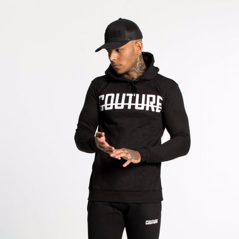 FRONT LOGO OVER HEAD HOODIE - BLACK