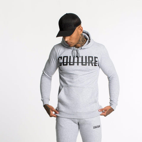 FRONT LOGO OVER HEAD HOODIE - GREY