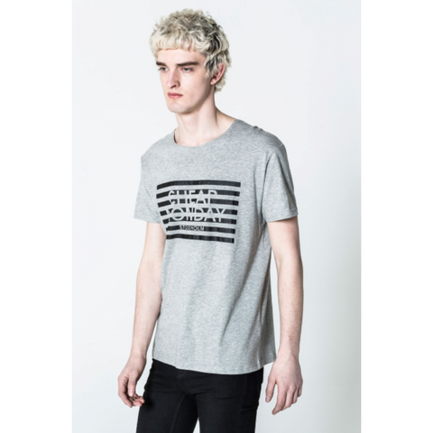 STANDARD STRIPED LOGO TEE - GREY
