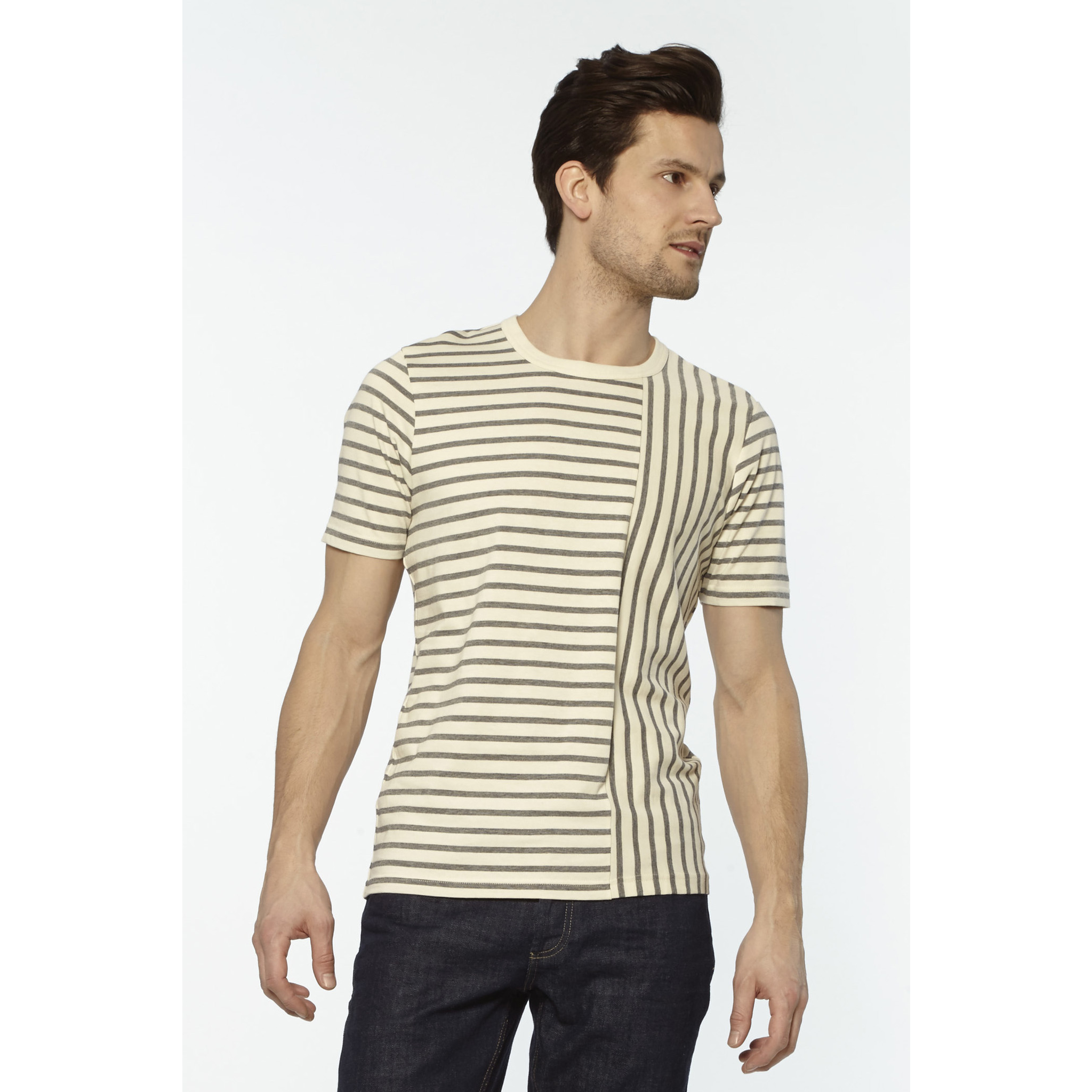 CROSS STRIPE TEE - BONE/BLACK