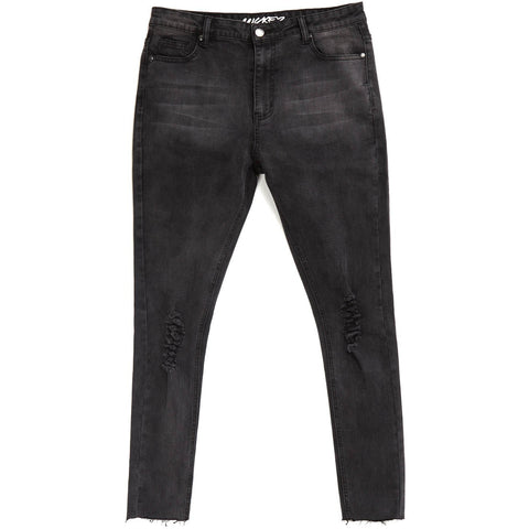 MICKEY SUPER SKINNY CUT OFF JEANS - BLACK