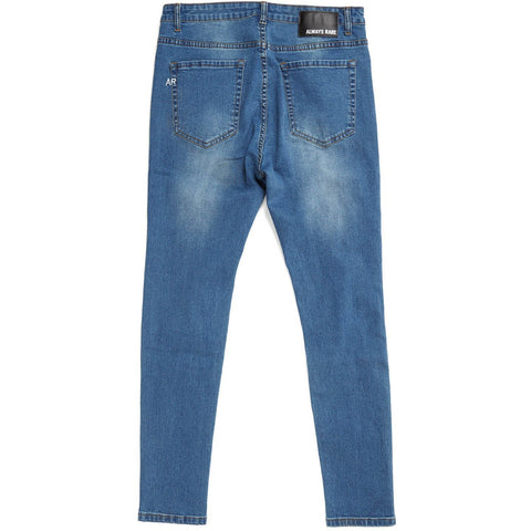 VINCENT CARROT FIT RIPPED JEANS - BLUE