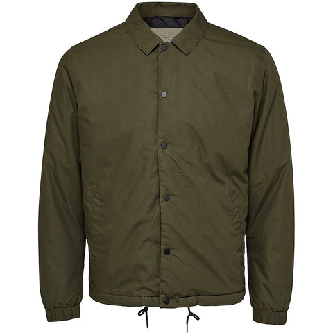 ZIP UP COACH JACKET - FOREST GREEN