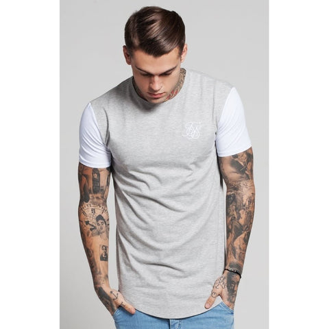 CONTRAST SHORT SLEEVE TEE - GREY/WHITE