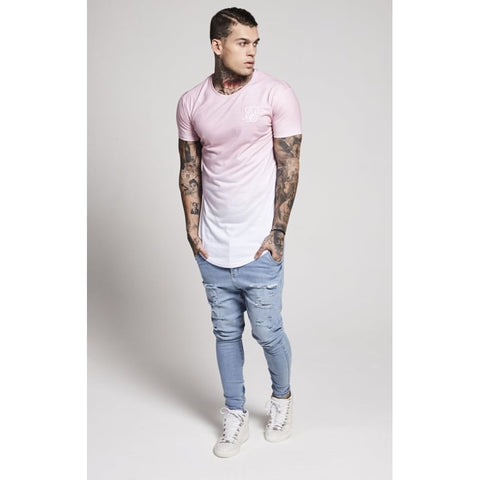 CURVED HEM FADED TEE - PEACH