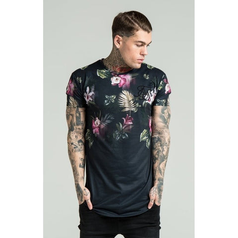 SHORT SLEEVE DARK FLORAL TEE - BLACK