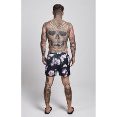 DARK GARDEN STANDARD SWIM SHORTS - BLACK