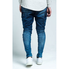 DENIM CARGO PANTS - STONEWASH BLUE